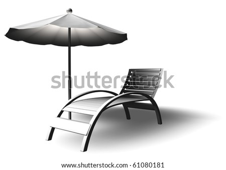Beach parasol and deckchair with shadow, can be used for web or print #61080181