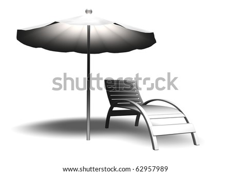Beach parasol and deckchair with shadow, can be used for web or print #62957989