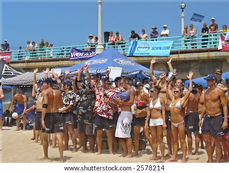 Beach Party Cheers  Volleyball - stock photo
