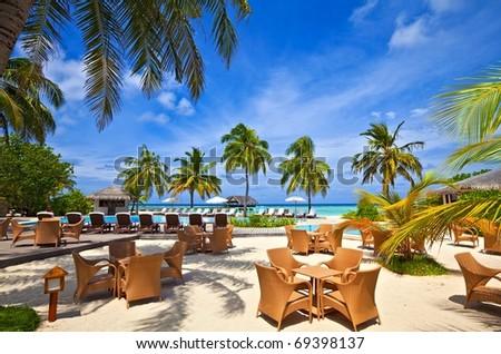 Beach pool in a tropical hotel