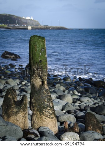 Beach post at Whitehead, County Antrim, Ireland