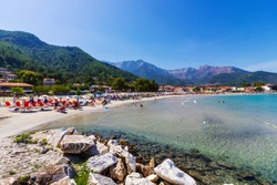 Beach Psili Ammos, in Thassos (or Thasos) island, in northern Aegean sea, Greece, Europe.