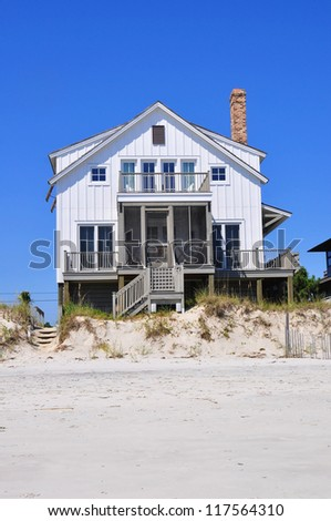Beach rental property on pretty summer day
