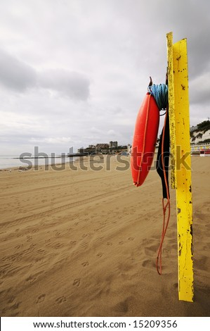 Beach rescue point at Broadstairs beach Kent England