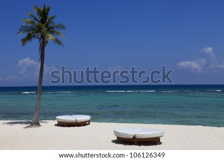 beach resort at the caribbean sea. Yucatan, Mexico