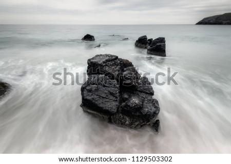 Beach rocks at the Sango bay shot in long exposure, Durness village, Scotlnad