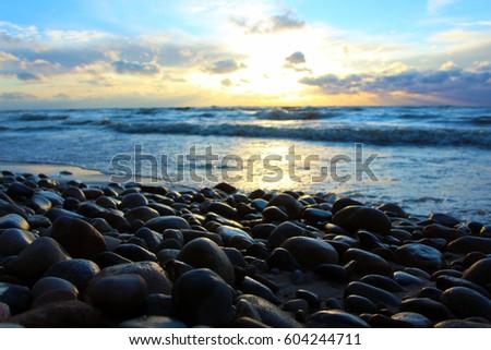 Beach Rocks Sunset #604244711