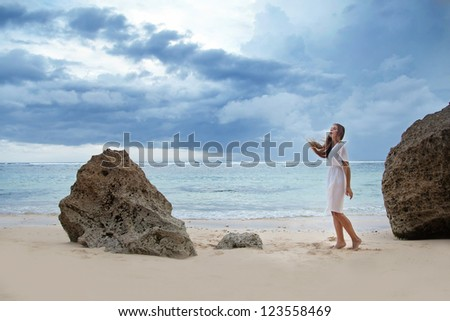 Beach, sad beautiful woman