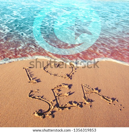 Beach sand, sea and flag Tunisia,. I love Tunisia concept #1356319853