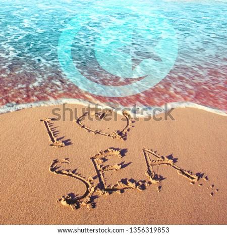 Beach sand, sea and flag Tunisia,. I love Tunisia concept #1356319853