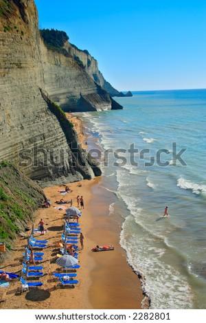 Beach scene from Corfu island, Greece