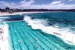 Beach Scene: Rock Swimming Pools overlooking Tasman Sea near Bondi.