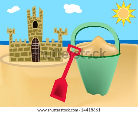 Beach scene with sand pail and sand castle.