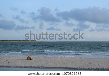 Beach scene with woman alone on empty beach sandbar relaxing with view of water and island. #1070821265