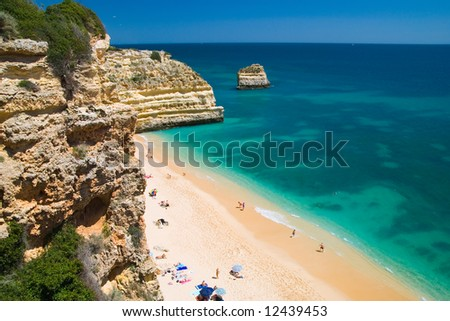 Beach scenic at Praia da Marinha, Algarve, Portugal