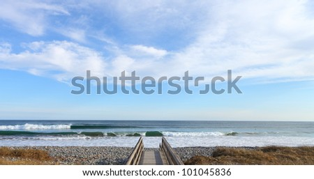 Beach, sea, sky, and surf