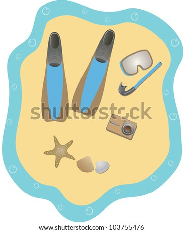 Beach set for man. Snorkeling. - stock photo