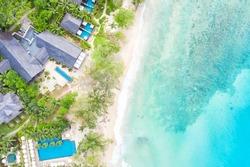Beach Seychelles island luxury vacation swimming pool sea symbolic photo drone view aerial photo landscape
