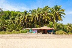 Beach shack on Keri or Kerim or Querim beach in north Goa, India