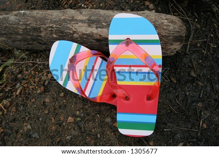 beach shoes on rock