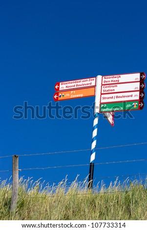 Beach sign at Zandvoort beach, The Netherlands