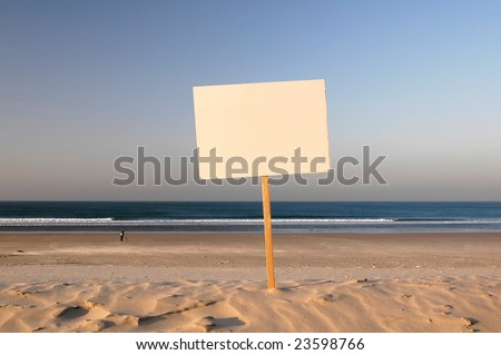 beach sign ready for rent, holiday, sold, you write your text.... - stock photo