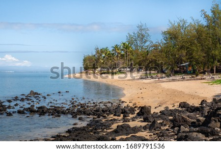 Beach Spot on La Saline-les-Bains Photo stock ©