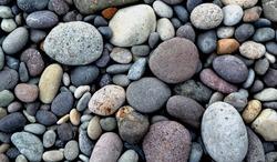 Beach stones background. Pampilla beach.