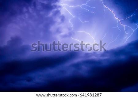 Beach storm thunder night #641981287