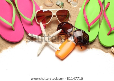 Beach stuff with sands on white background
