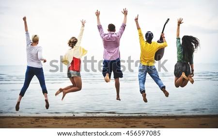 Beach Summer Friends Fun Shot Concept