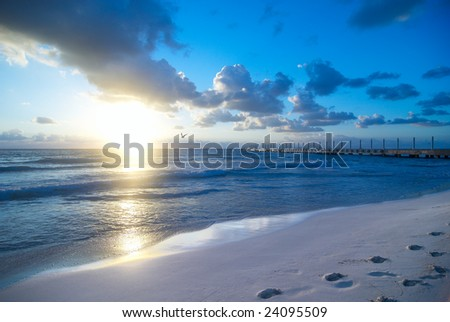 Beach Sunrise with Blue Sky