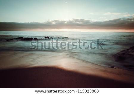 beach sunset - stock photo