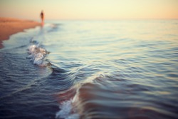 beach sunset abstract background shoreline close up stylized