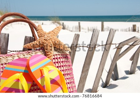 beach supplies by sand dune fence