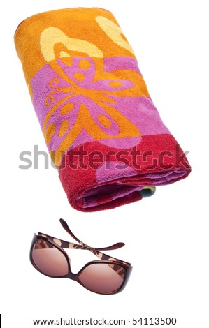 Beach Towel and Sunglasses Isolated on White with a Clipping Path.