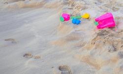 Beach Toys Set for Kids Building a sand castle tower toys footprints.