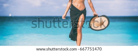 Beach travel woman banner. Skin care leg laser epilation hair removal sexy legs woman. Luxury travel lower body panorama copy space crop. #667751470