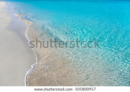 beach tropical with white sand and turquoise water ripple reflection