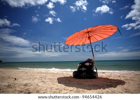 Beach umbrella in Pradipat pine garden  at  Hua Hin