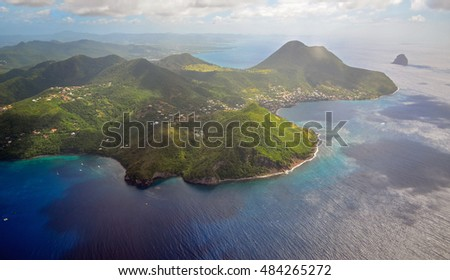 Beach umbrella on a caribbean island, Martinique