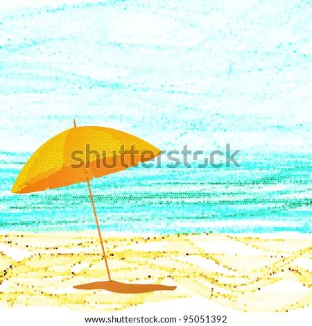 Beach  umbrella on sunny sea shore - Shutterstock ID 95051392