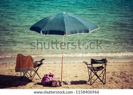 beach umbrella on the beach #1158406966