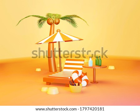 Beach umbrella with alcohol jel chairs, coconut trees, beer bottles and sand on orange background. summer vacation and travel concept. Travel during coronavirus COVID-19. 3d rendering. Zdjęcia stock ©