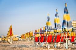 Beach Umbrellas at the end of the Season - Rimini Beach, Italy