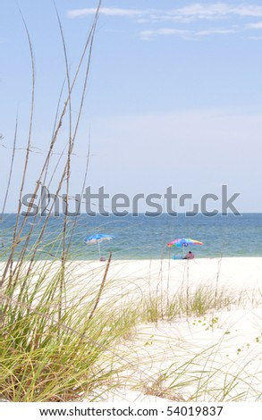 Beach umbrellas on beautiful seashore