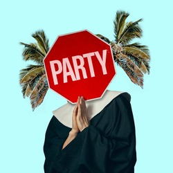 Beach vacation, resort. Woman praying, headed with sign PARTY and palms on background. Copy space for ad, text. Modern design. Conceptual, contemporary bright artcollage. Party time, fun mood.