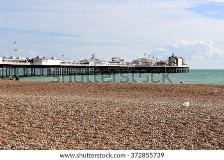 Beach view of Brighton pier, United Kingdom. #372855739