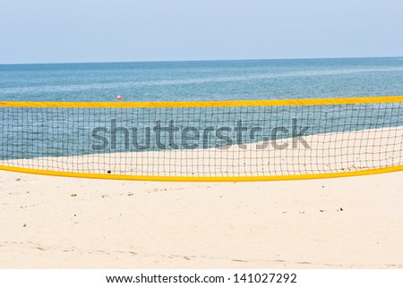 Beach volley net on the beach