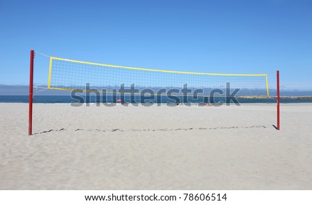 beach volley net wit a blue sky - stock photo